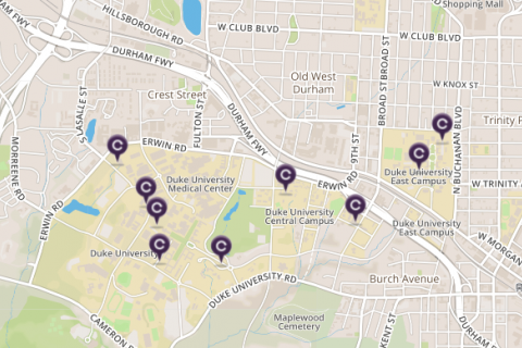 Map view of CarShare locations near campus