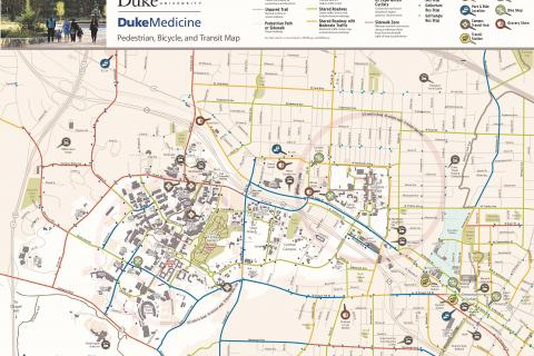 Duke Medicine Pedestrian, Bicycle, and Transit Map