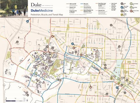 Duke University/Medicine Pedestrian, Bicycle, and Transit Map